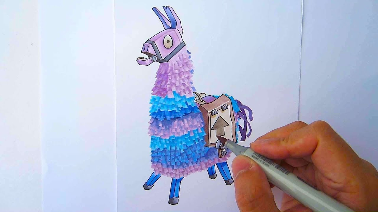 It is a graphic of Epic Fortnite Llama Drawing