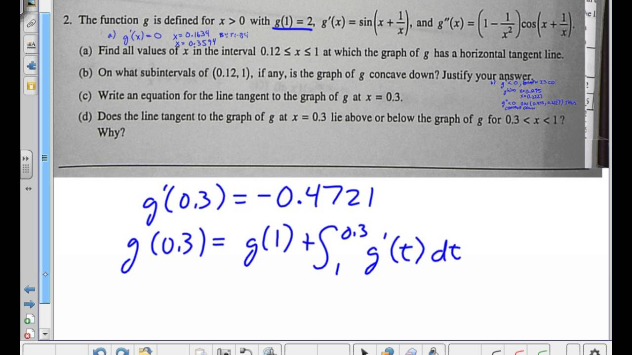 AP Calculus AB 2010 Free Response Question #2 Form B -- Juda math ...