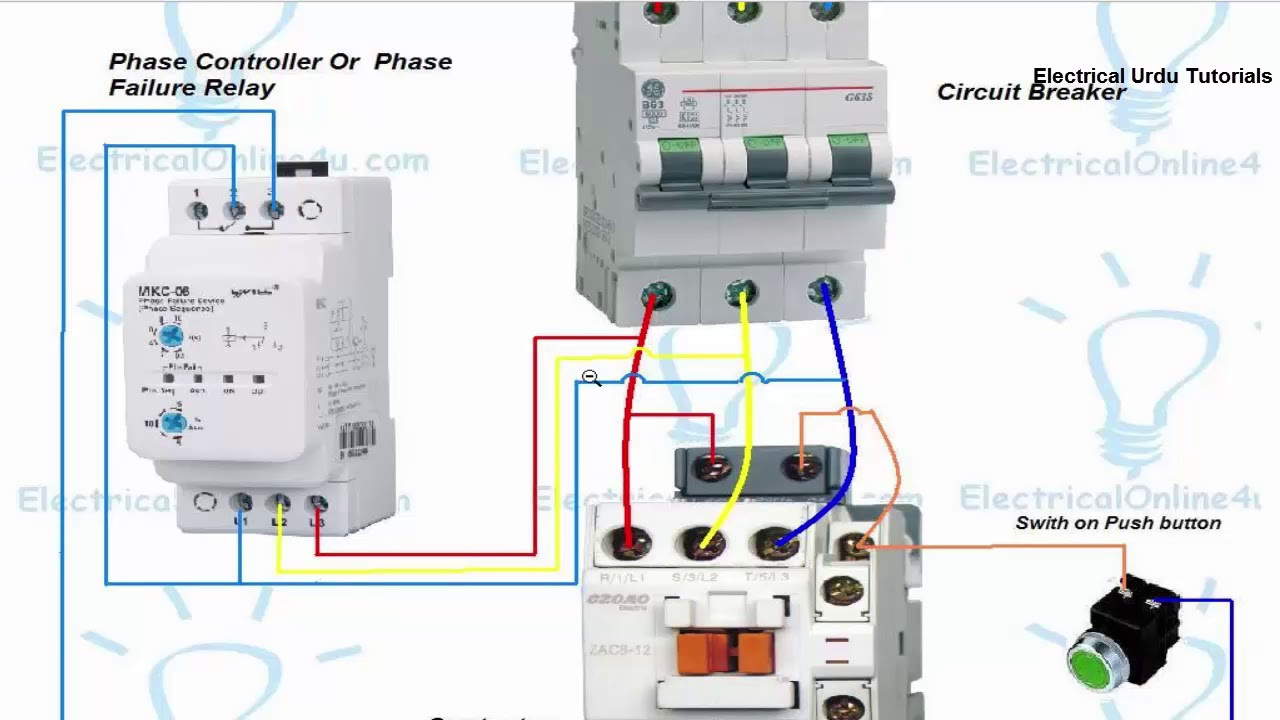 phase failure relay connection installation in hindi urdu youtube 3 phase failure relay circuit diagram phase failure relay circuit diagram [ 1280 x 720 Pixel ]