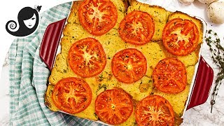 Vegan Savoury Bread Pudding - Eggless Recipe   Vegan Brinner Collab