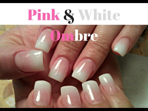 Easy Pink And White Ombre Nails Tutorial Pink Nude Ombre Coffin