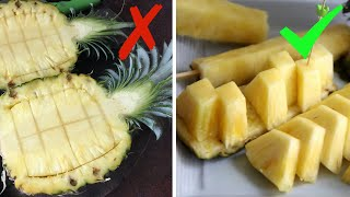 HOW TO CUT PINEĄPPLE | 2 EASY WAYS TO CUT PINEAPPLE WITHOUT WASTE
