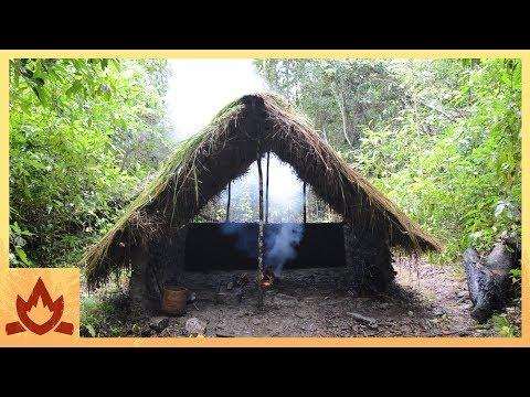 Primitive Technology: Grass thatch, Mud hut