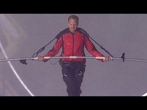 Megastunts Nik Wallenda Takes The First Step In His Tightrope - Nik wallendas epic blindfolded skyscraper tightrope walk