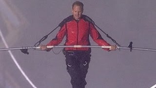 Megastunts: Nik Wallenda Takes the First Step in His Tightrope Walk Over Niagara Falls