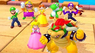 Super Mario Party MiniGame Battle - Peach vs Mario vs Bowser vs Rosalina