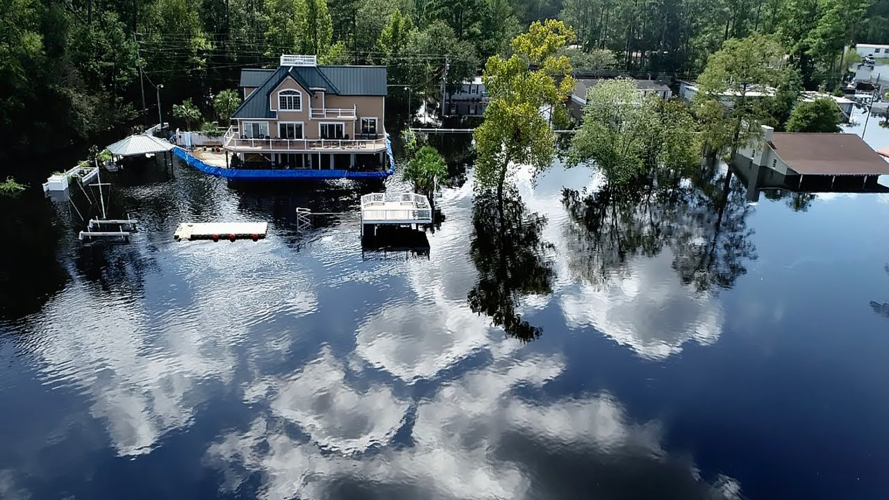 Drone video shows Intracoastal Waterway flooding homes near Myrtle Beach