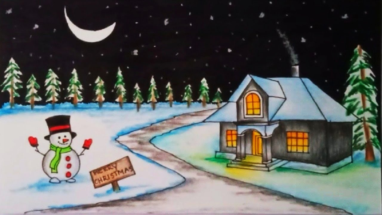 Christmas Scene Drawing.Christmas Drawings How To Draw A Christmas Scene With Snowman Christmas Festival Drawing