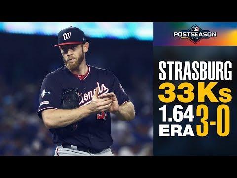 Nationals' Stephen Strasburg's INSANE 2019 Postseason (3-0, 33 Ks 1.64 ERA)