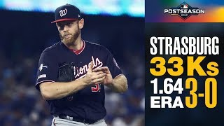 Nationals' Stephen Strasburg's INSANE 2019 Postseason (3-0, 33 Ks 1.64 ERA)