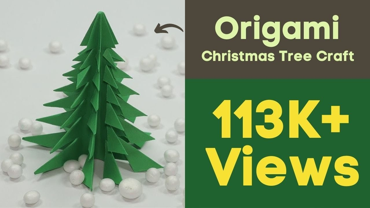 Christmas Tree Craft.Origami Christmas Tree Craft Diy Paper Christmas Tree Just In 5 Min