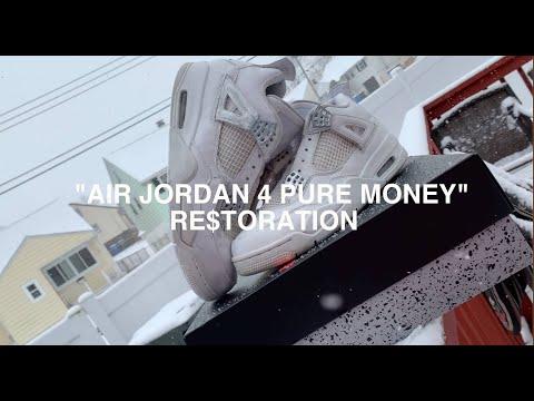 "Air Jordan 4 ""Pure Money"" FULL Re$toration (painting Jordan 4 Chrome wings)"