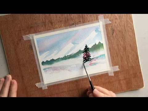 Watercolor Demo: Snowy Winter Landscape using Da Vinci Paints