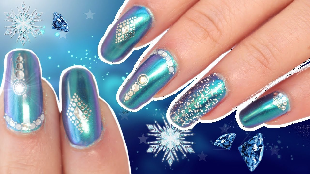 Winter Chrome Nail Art Tutorial | Jeweled Festive/ Wedding Nails ...