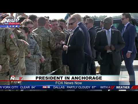 PRESIDENT TRUMP GREETS TROOPS: Air Force One stops in Anchorage on way to G20 summit in Japan