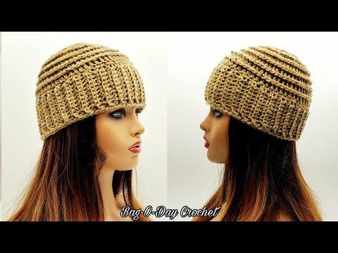 How To Crochet A Beanie Hat For Men or Women - Bag O Day Crochet Tutorial #624