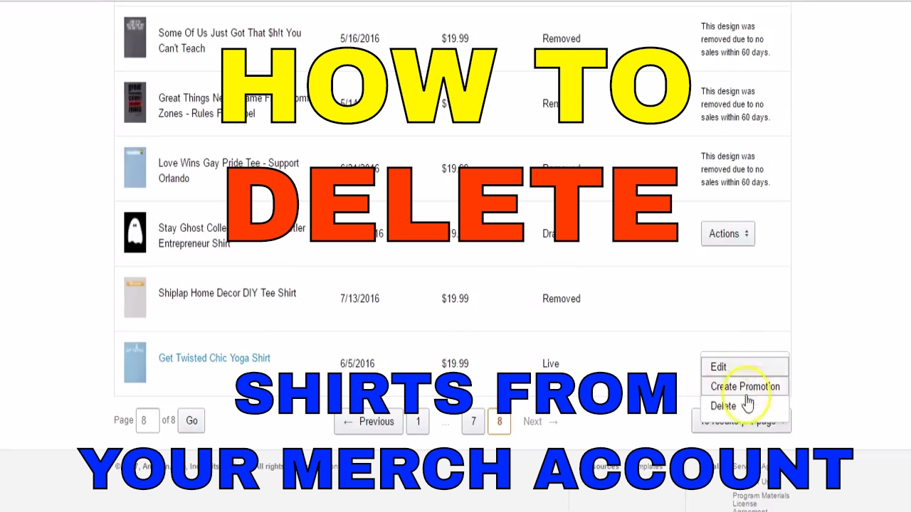 how to delete amazon merch shirts from your merch by amazon account youtube. Black Bedroom Furniture Sets. Home Design Ideas