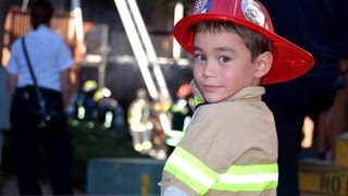 6-Year-Old Boys Offers To Help Put Out Fire Wearing His Firefighter Costume