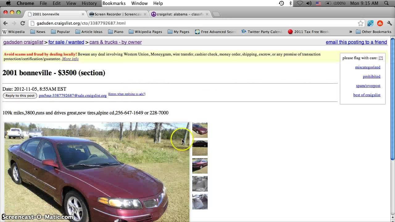 Craigslist Gadsden Alabama Used Cars Online For Sale By Owner Classifieds In 2012 Youtube