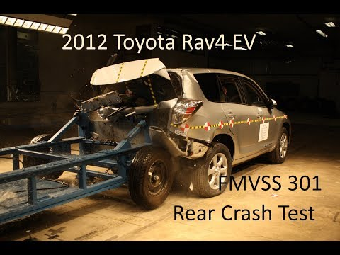 2012-2014 Toyota Rav4 EV FMVSS 301/305 Rear Crash Test (50 Mph)