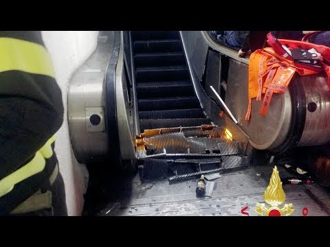 Escalator accident in Rome subway station injures soccer fans