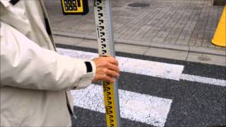回転レーザー Rugby 840 : 道路横断面の高低差