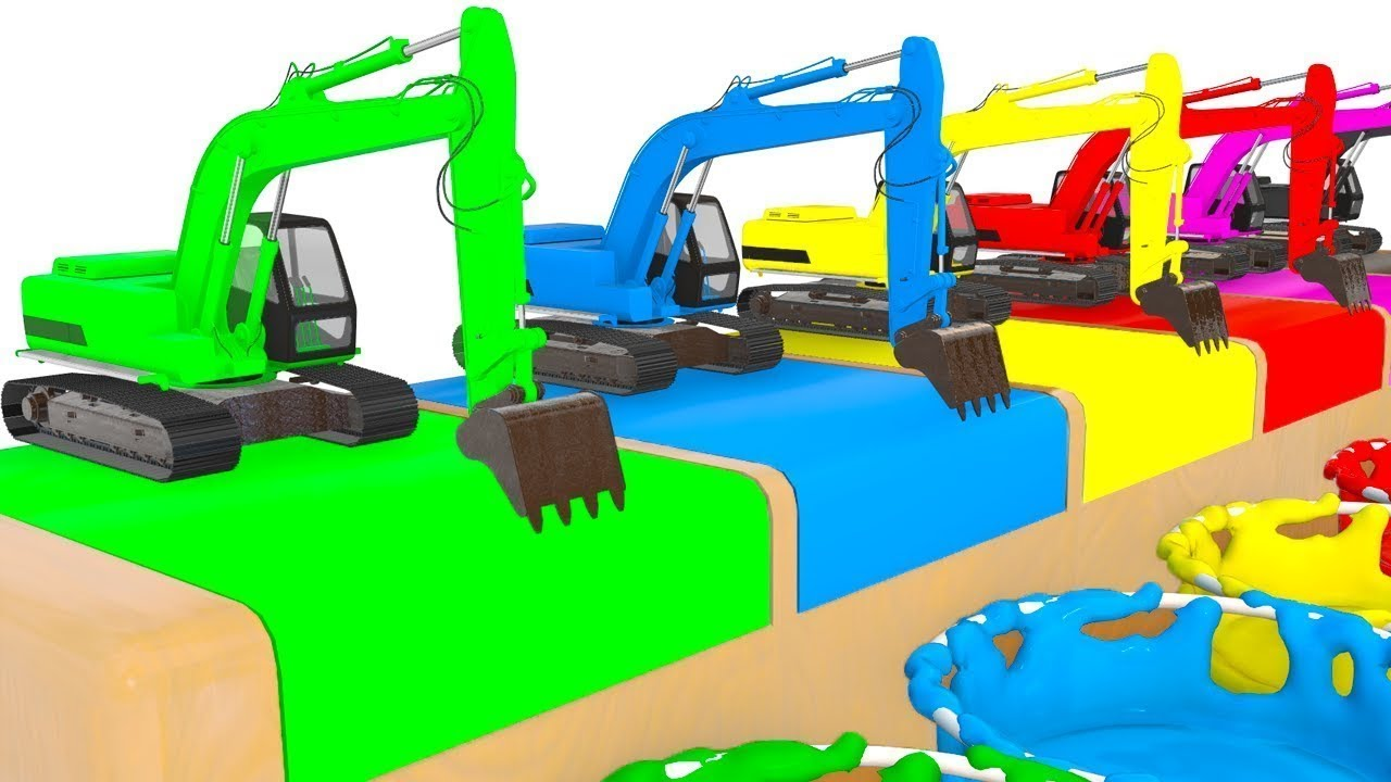 uczymy się angielskiego dla dzieci Koparki kolorowe auta specjalne nauka dla dzieci