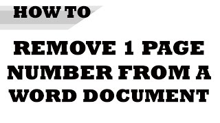 How to remove specific page numbers in word