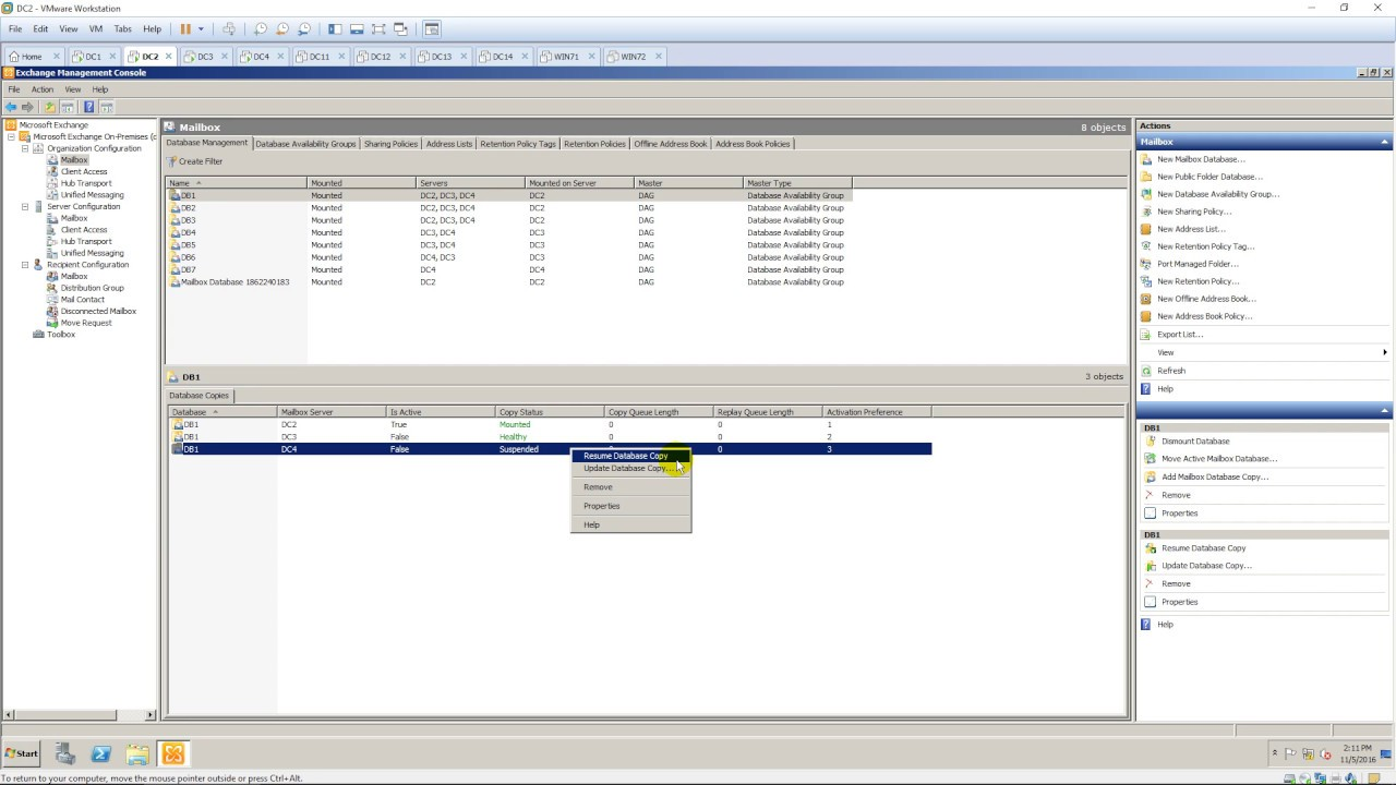 Suspending and resuming replication for Database Copies in Exchange ...