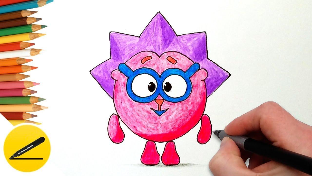Как Нарисовать Смешарика Ежика поэтапно - Учимся рисовать Смешариков
