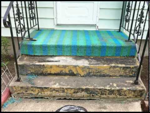 Carpet turf vs stoneeffects coating youtube for Clean rust off concrete patio