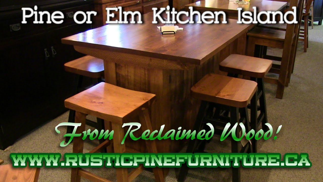 Rustic Pine Kitchen Island From Reclaimed Mennonite Furniture Barrie Ontario