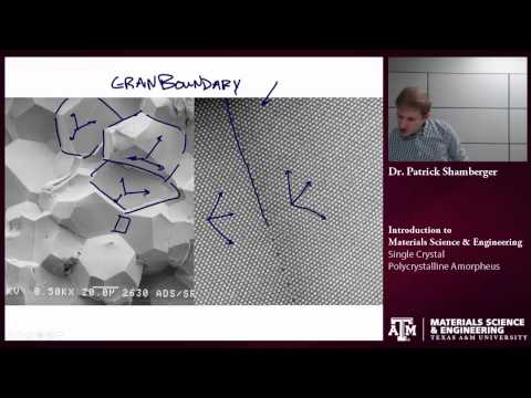 Single Crystal, Polycrystalline, Amorphous {Texas A&M: Intro to Materials}