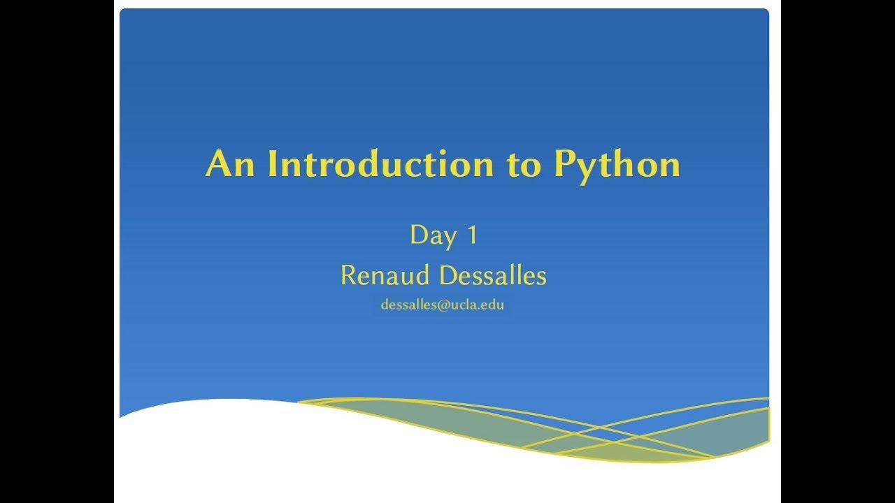 W9: Intro to Python – Institute for Quantitative and