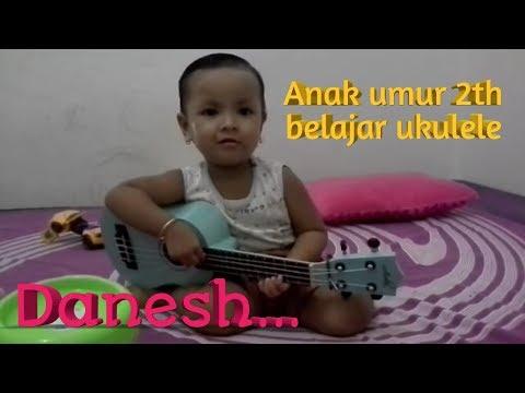 Keren anak umur 2 tahun belajar ukulele