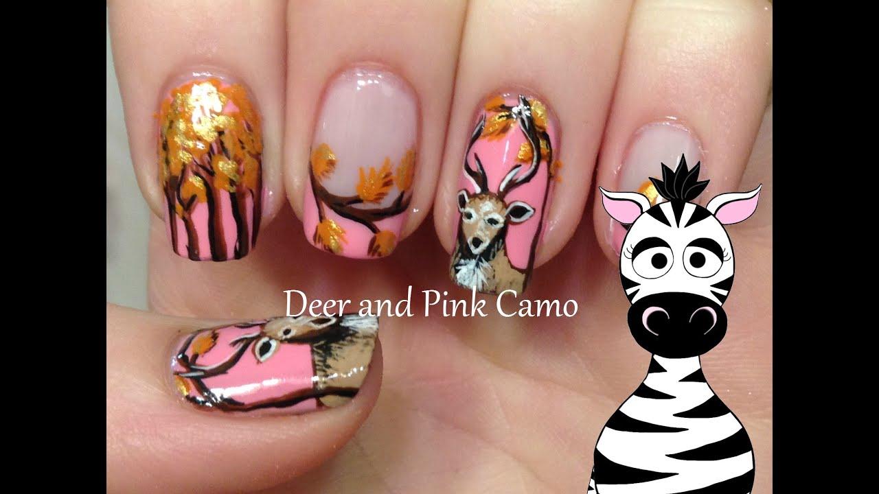 deer in woods nail art tutorial