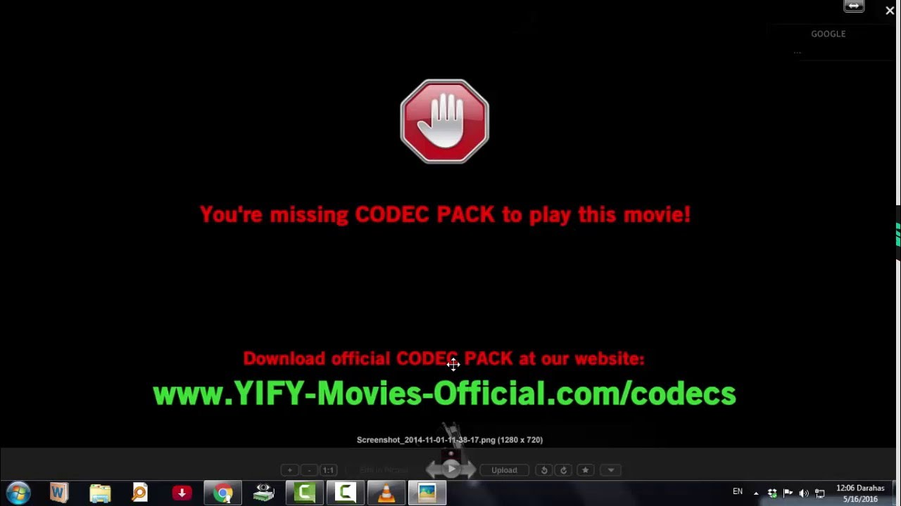 Yify codec pack installation