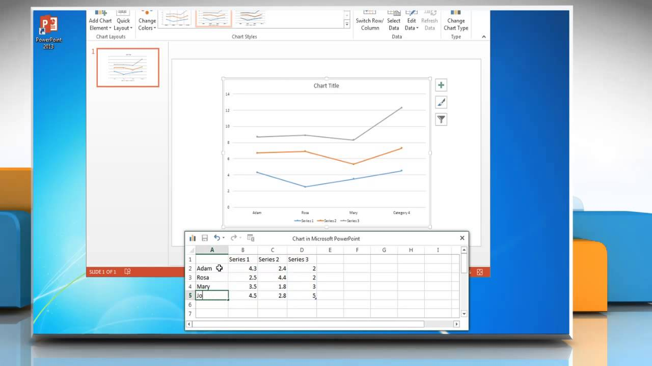 How to make a line graph in powerpoint 2013 youtube how to make a line graph in powerpoint 2013 ccuart Images