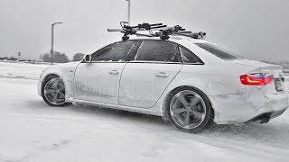 AWD Audi Quattro A4 Drifting IN THE SNOW!!! Audi Quattro Power VS AWD Subaru WRX