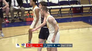 Michael almonacy and eamonn joyce scored 23 20 points, respectively, to lead the southern new hampshire university men's basketball team an 84-74 win ...