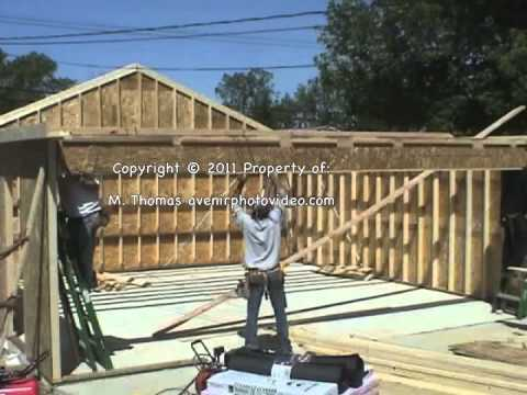 24x24 garage built in 5 hours garaje 16x16 deck material list