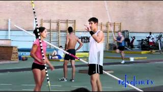 Training with Jeff Coover, Allison Stokke, and Dustin Deleo (USA pole vaulters), 10/07/2012. Madrid.