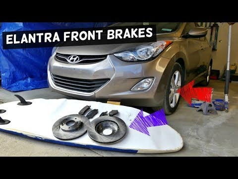 HOW TO REPLACE FRONT BRAKE PADS AND DISC ROTORS ON HYUNDAI ELANTRA