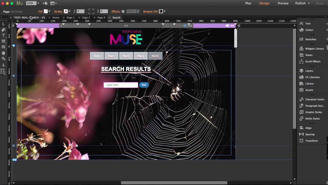 Real Search Widget for Adobe Muse