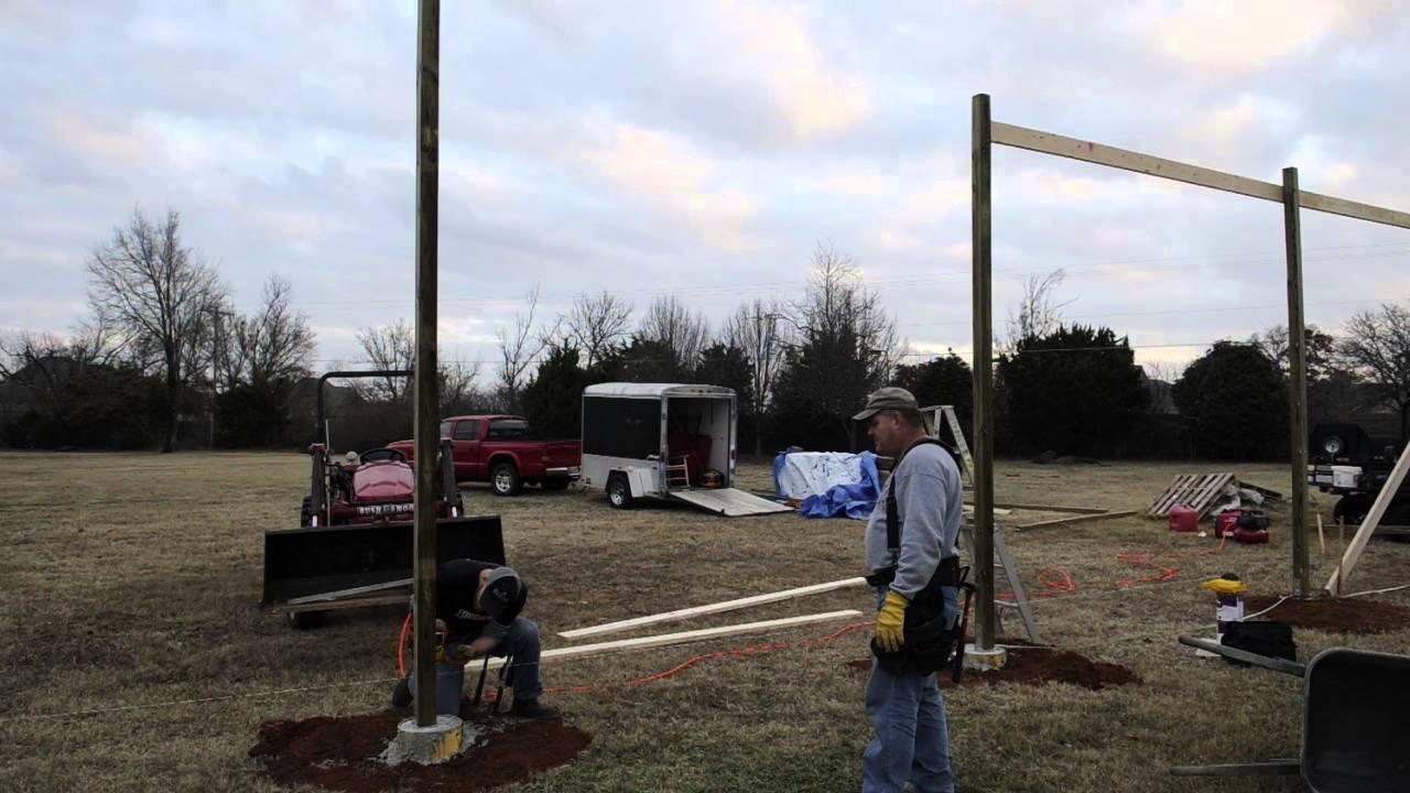 Cement Pole Barn Post : Setting posts on pole barn
