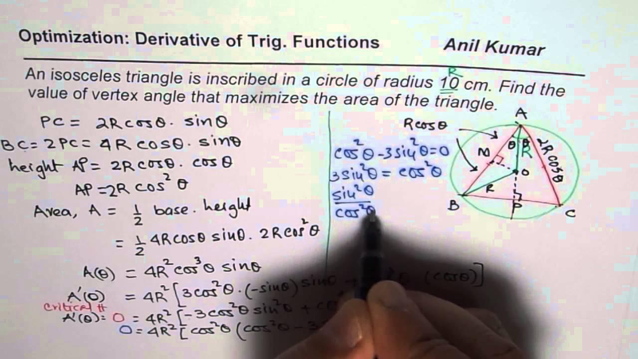 Trig calculus maximum area of isosceles triangle inscribed in a trig calculus maximum area of isosceles triangle inscribed in a circle ccuart Images