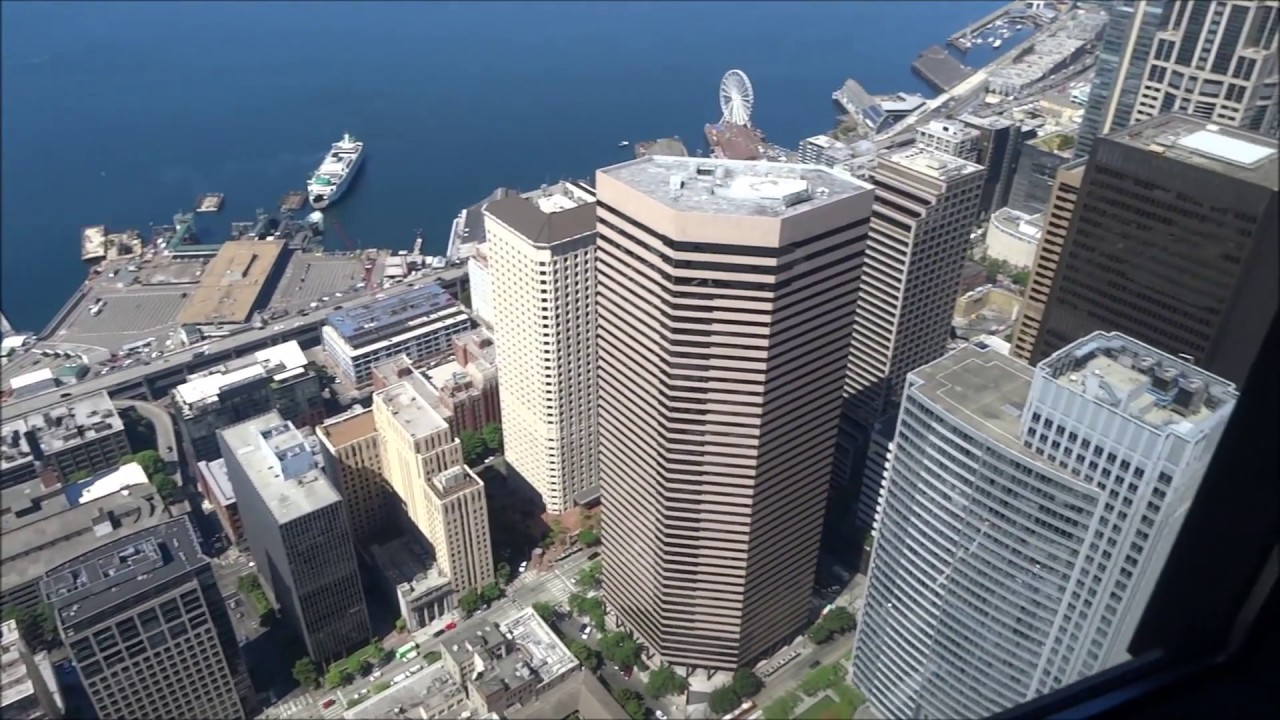 360 View of Seattle from Columbia Center Sky View Observatory