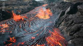 Lava flowing from volcano lava eruption