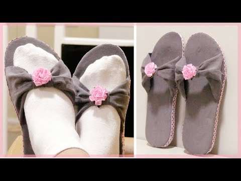 DIY SLIPPERS: How to Make Home Slippers Using Old Jeans and Damaged Flip Flops (Easy & No Sew)