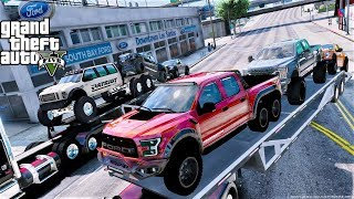 GTA 5 Real Life Mod #112 Delivering Lifted Off Road & 6 By 6 Ford Trucks To My Ford Dealership